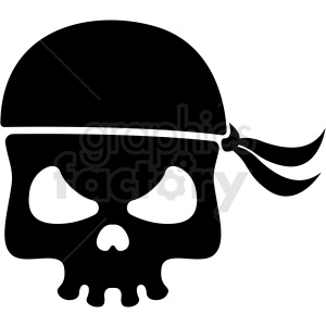 jolly roger skull with bandana vector clipart clipart. Commercial use image # 409735