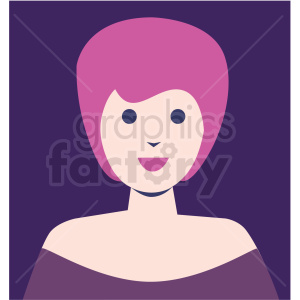 female avatar purple background vector icon clipart. Royalty-free image # 409743