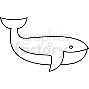 black and white whale icon clipart. Commercial use image # 409815