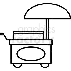 black and white food cart icon clipart. Commercial use image # 409935