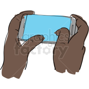 black hands holding cell phone clipart. Royalty-free image # 409996