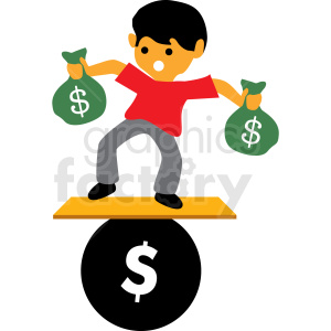 balancing debt cartoon vector clipart animation. Commercial use animation # 410000