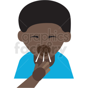 african american boy coughing cartoon vector icon