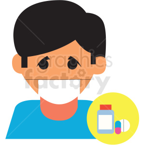 sick boy with mask vector icon clipart. Commercial use image # 410127