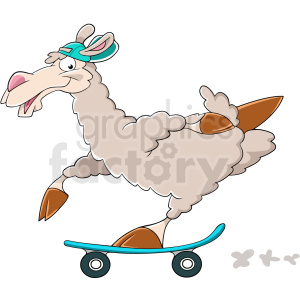 cartoon llama riding skateboard