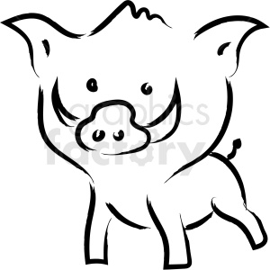 cartoon wild pig drawing vector icon clipart. Commercial use image # 410198