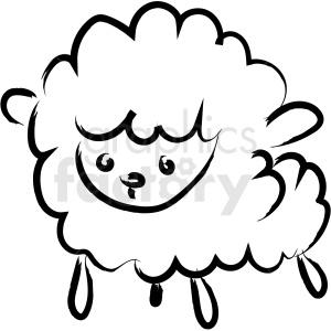 cartoon fluffy sheep drawing vector icon
