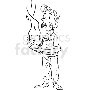 man holding coffee cup clipart. Commercial use image # 410531