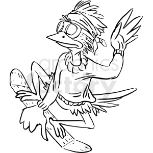 snowboarding bird clipart. Commercial use image # 410533