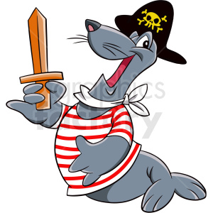 seal wearing pirate costume clipart. Royalty-free image # 410566