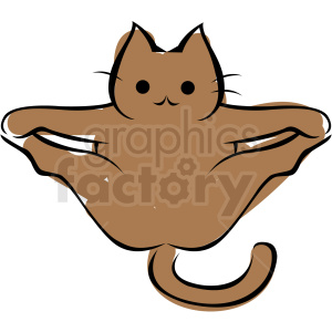 cartoon cat doing yoga extended angle pose vector clipart. Commercial use image # 410641