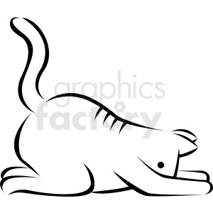 black and white cartoon cat doing yoga child pose vector