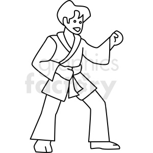 man practicing martial arts vector icon clipart. Commercial use image # 410686