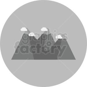 mountain range with clouds vector on circle background clipart. Commercial use image # 410960