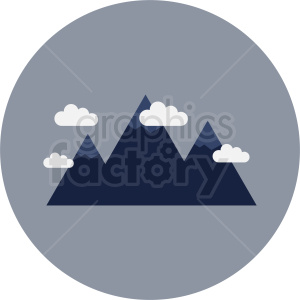 mountain with clouds vector icon on gray circle background