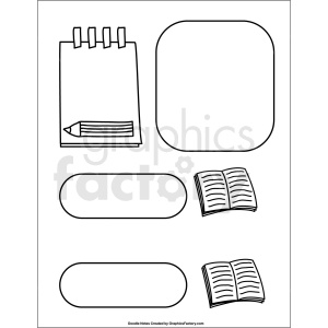 doodle notes printable page for book report clipart. Commercial use image # 411149