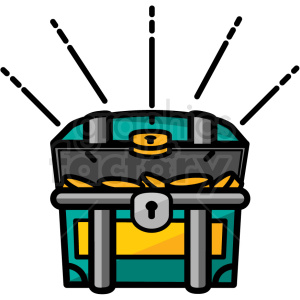 open cartoon treasure chest vector icon clipart. Commercial use icon # 411240