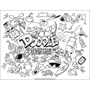 Summer doodle printable page clipart. Royalty-free image # 411257