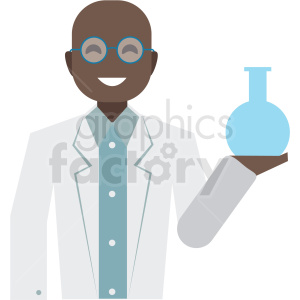 black scientist flat icon vector icon clipart. Royalty-free icon # 411286
