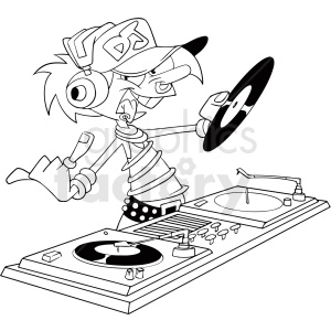 black and white electric daisy carnival rave cartoon dj clipart clipart. Royalty-free image # 411411