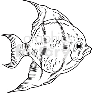 black white realistic tropcal fish clipart clipart. Commercial use image # 411442