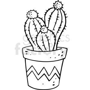 cartoon cactus black white vector clipart clipart. Royalty-free icon # 411493