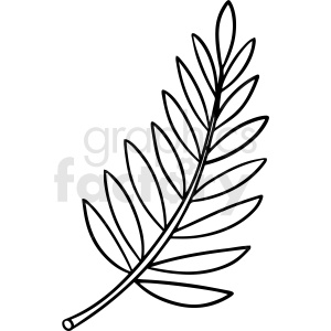 cartoon fern leaf black white vector clipart