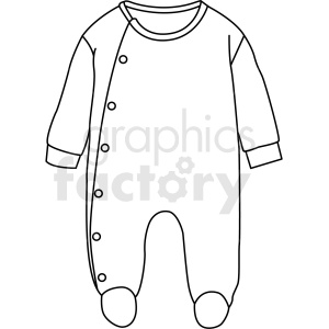 black white baby pjs vector clipart clipart. Commercial use image # 411710