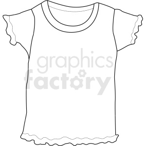 black white girls t shirt vector clipart