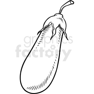 black and white cartoon eggplant vector clipart clipart. Commercial use image # 411728