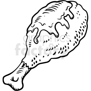 black and white chicken leg vector clipart