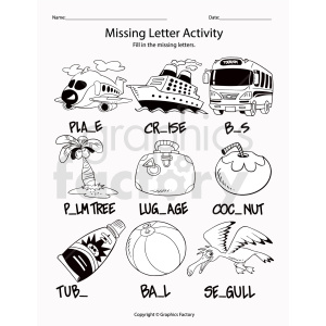 missing letter activity printable sheet clipart. Commercial use image # 411759