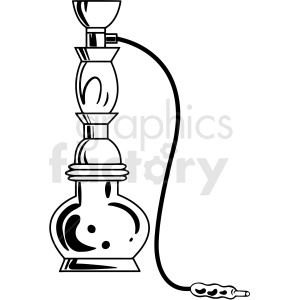 black and white cartoon hookah smoking pipe vector clipart clipart. Royalty-free image # 411813