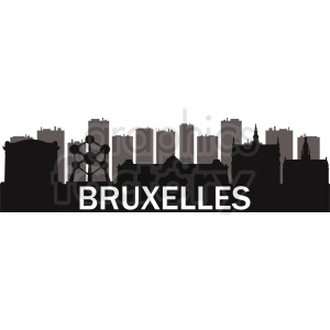 Brussels vector  city skyline silhouette clipart. Commercial use image # 412210