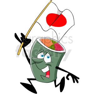 cartoon sushi character holding japan flag clipart. Royalty-free image # 412403