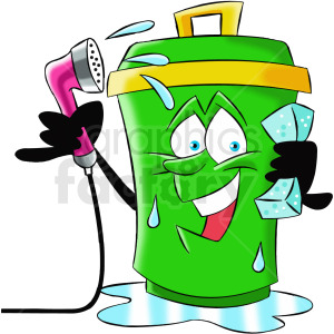 cartoon trash can character washing itself