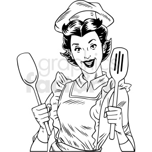 black white vintage female chef cooking dinner vector clipart clipart. Commercial use image # 412543