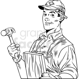black white vintage carpenter vector clipart clipart. Commercial use image # 412545