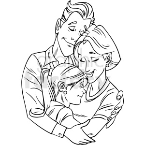 black white family hugging vector clipart clipart. Royalty-free image # 412649