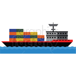 cargo ship at sea vector clipart clipart. Commercial use image # 412693