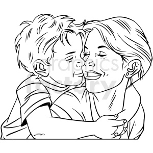 black and white mom hugging son vector clipart