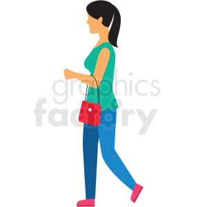 young woman walking vector clipart