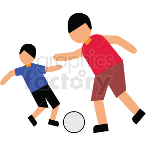 dad playing soccer with son vector clipart clipart. Commercial use image # 412748