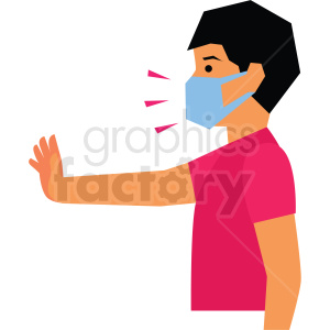 people cartoon kid sick ill face+mask virus