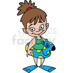 cartoon child ready for swimming vector clipart. Commercial use image # 412848