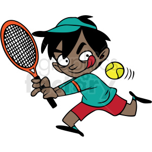 african american cartoon child playing tennis vector clipart. Commercial use image # 412858