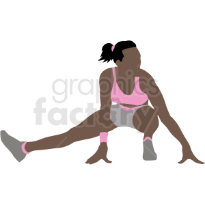 african american women stretching vector illustration clipart. Commercial use image # 412884