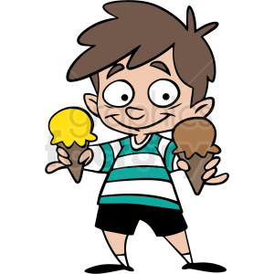 boy holding ice cream cones vector clipart clipart. Commercial use image # 413048