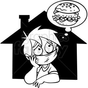 black and white quarantined kid dreaming of cheese burger vector clipart