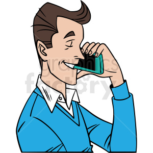 man talking on phone vector clipart clipart. Royalty-free image # 413076